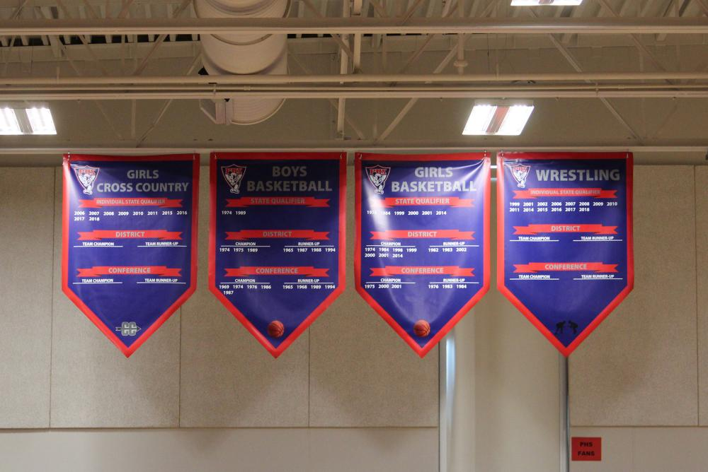 Palmyra Gym Banners - Girls Cross Country, Boys Basketball, Girls Basketball and Wrestling
