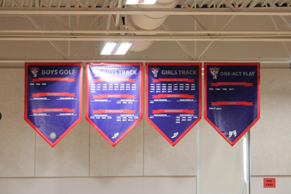 Palmyra Gym Banners - Boys Golf, Boys Track, Girls Track and One Act Play