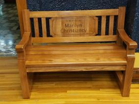 In memory of wooden bench