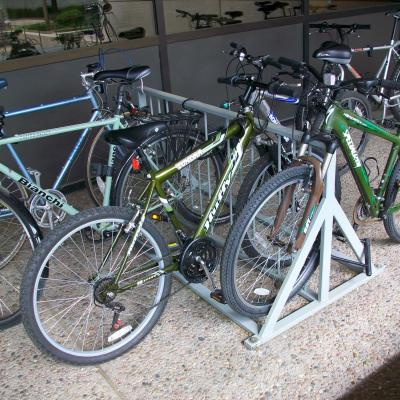 bicycle rack with bikes parked