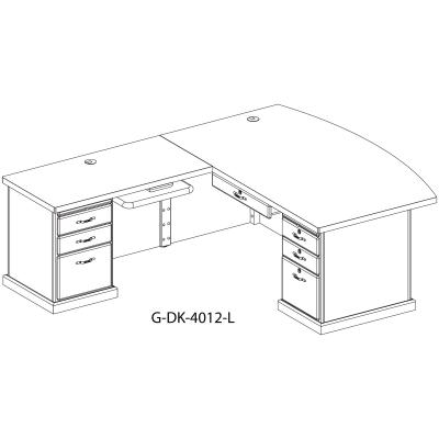 schematic of conference curved top desk with two pedestals, keyboard trey and pencil darwer