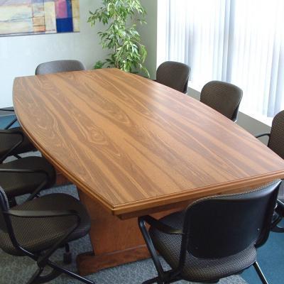 CONFERENCE TABLE PEDESTAL LEG BOAT SHAPE Cornhusker State - Pedestal conference table