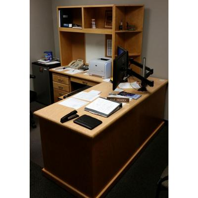 desk with left return and custom hutch