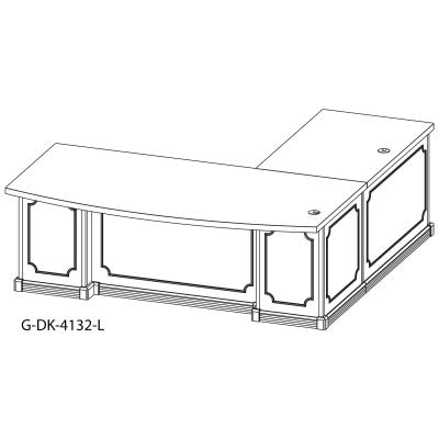 schematic of a conference curved top desk with left return