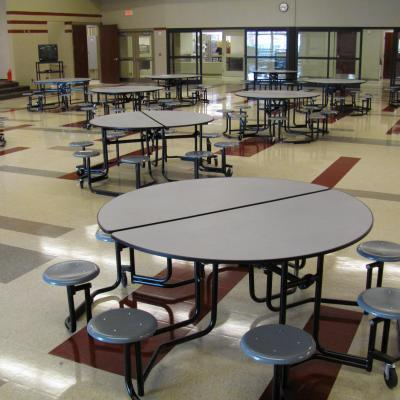 fold able round tables with 8 individual seats