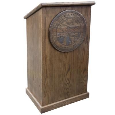 podium with engraved plaque