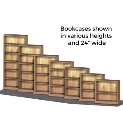 7 sizes of single sided bookcases