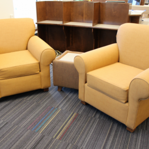 Bennington chairs with yellow fabric