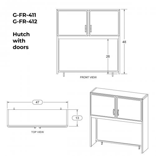 Hutch with doors and corkboard - Birch