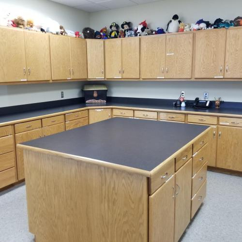 top and bottom line of cabinets with an island in the foreground