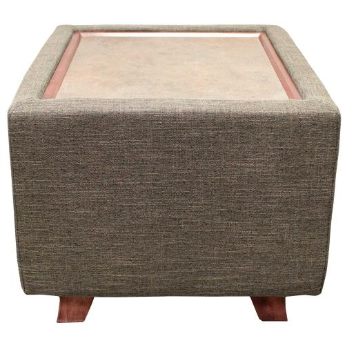 square upholstered table with laminate top