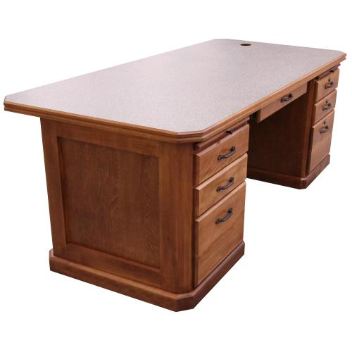 conference top desk with two pedestals and pencil drawer