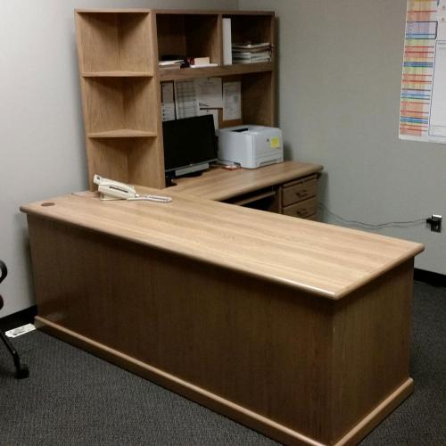 desk with right retuen and custom hutch