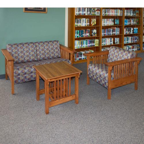 Niobrara love seat and chair with niobrara side table