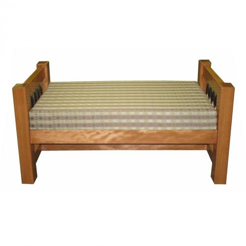 wood bench with side arms and upholstered top