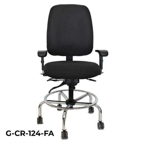 Front view of a pilot stool chair with arms and black fabric