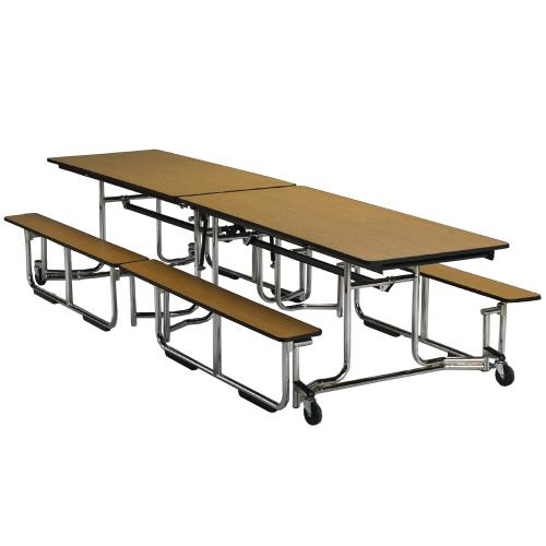 rectangular fold able table with bench seats
